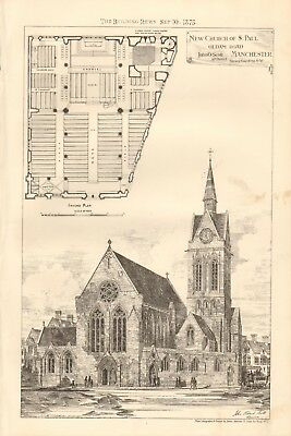 1875 Antique Print- Architecture - Manchester - New Church Of St Paul, Oldham Rd