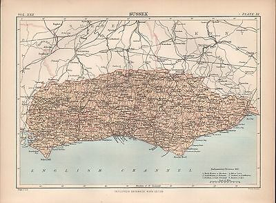 1880 ca ANTIQUE COUNTY MAP-SUSSEX, SELSEA,RYE,HORSHAM,ARUNDEL,EASTBOURNE
