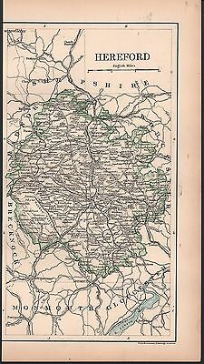 1889 Antique Map Johnston England - Hereford, Leominster, Hay, Presteig, Ludlow