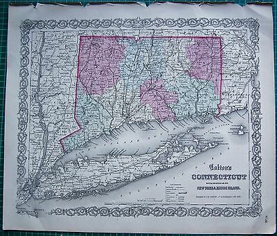 1855 Large Antique Map-Colton- Connecticut, New York, Rhode Island