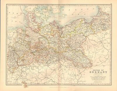 1891 Antique Map - Empire Of Germany, Northern Portion