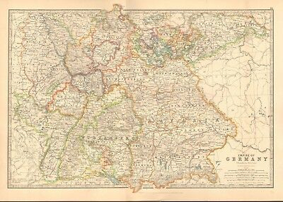 1891 Antique Map - Empire Of Germany, Southern Portion