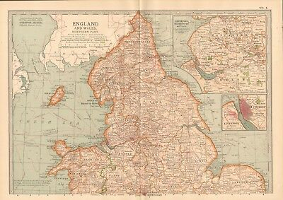 1903 Antique Map- England And Wales, Northern Part, Liverpool, Manchester