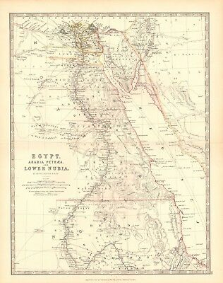 1880 Antique Map - Egypt, Arabia, Petraea, And Lower Nubia