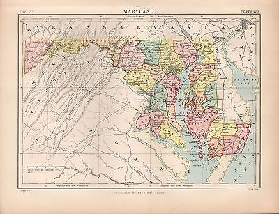 1880 ca ANTIQUE STATE MAP-USA-MARYLAND