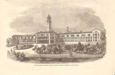 1856  Antique Print- New Central London District Schools Near Hanwell, Middlesex