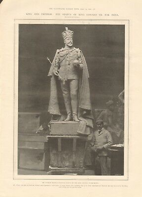 1902 Antique Print- The Statue Of King Edward Vii For India, By George Wade