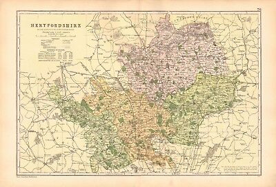 1906 Large Map-Bacon  - Hertfordshire, Hatfield, St Albans, Tring, Stevenage