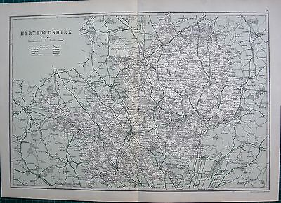 1912 Ca LARGE MAP-BACON - COUNTY OF HERTFORDSHIRE, HODDESDEN, ST ALBANS, TRING,