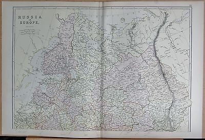 1882 Large Antique Map - Russia In Europe North