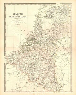 1880 Antique Map - Belgium And The Netherlands