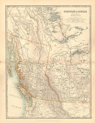 1891 Antique Map -  Dominion Of Canada, Western Sheet, Columbia, Vancouver