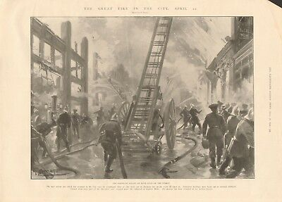 1902 Antique Print- London - The Great Fire In The City, Barbican Ablaze