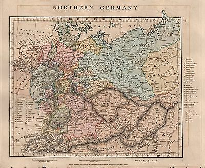 1828 Antique Arrowsmith Hand Coloured Map Northern Germany