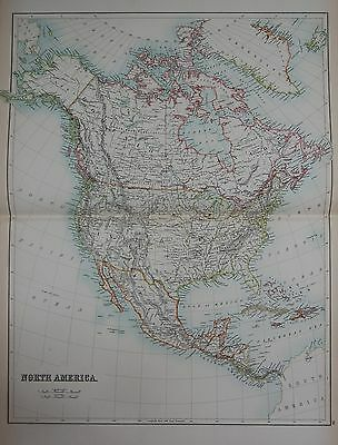 1897 North American Continent Large Map