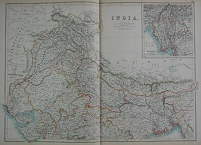 1897 India North With Burma Large Map