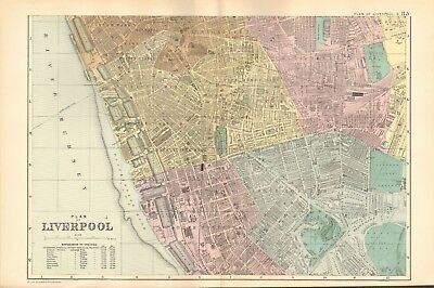 1895 Antique Map -  Plan Of Liverpool South