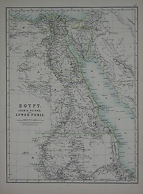 1897 Egypt Arabia Petraea And Lower Nubia Large Map