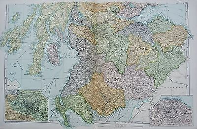 1906 Large Map Scotland South Kirkudbright Glasgow Berwick Edinburgh