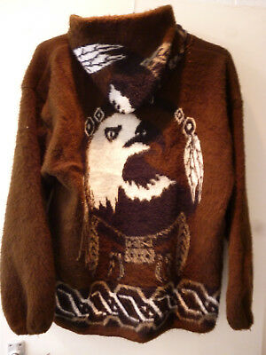 Hooded Zipped Coat Jacket Large Hand Made In Ecuador By Genesis Handicrafts