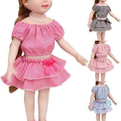 For 18 inch girl doll clothes doll plaid dress skirt Gift Toy K7T0