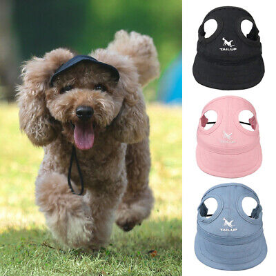 Summer Dog Baseball Hat Travel Sun Hat Cap With Ear Holes for Small Large Dogs