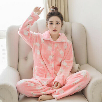 Women's Pajamas Set Soft Homewear Printed Flannel Sleepwear Winter Warm Pyjamas