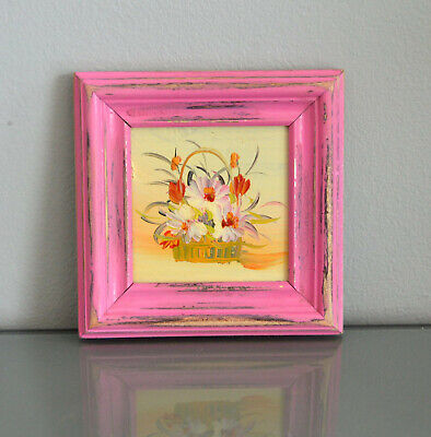 Scandinavian Impressionism Framed Original oil painting Flowers Rustic Pink