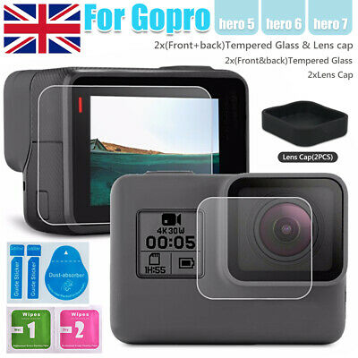 GoPro Hero 5 6 7 Action Camera Accessories Front Back Screen Protector +Lens Cap
