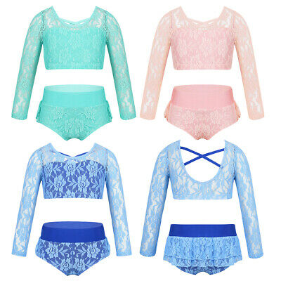 Kids Girls Two-Piece Dancewear Outfit Lace Leotards Crop Top+ruffled Briefs Set