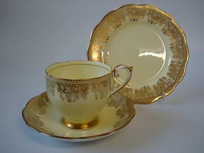 Queen Anne Fine Bone China Yellow Lemon And Heavy Gilt Gold Vine Decoration Trio
