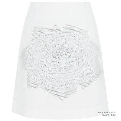 Stella McCartney Ivory White Camilia Rose-Applique Cotton A-Line Skirt IT38 UK6
