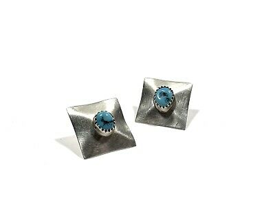Vintage Sterling Silver Nugget Turquoise Native American Pierced Earrings