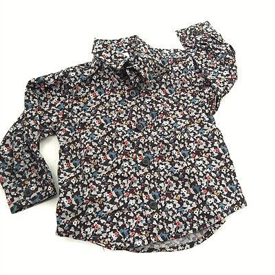 Petit Bateau Shirt 12m Baby Boys Button Front 100% Cotton Floral Bird Navy Euc