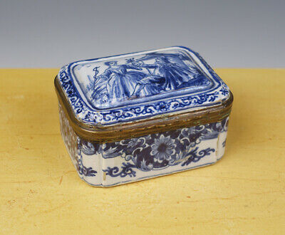 Antique Dutch Delft Brass Mounted Box Galant Couple 19TH C.MARKED