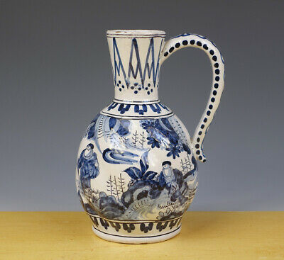 Antique Dutch Delft Lobbed Jug Chinoiserie 19TH C.MARKED