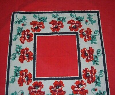 Vintage Tablecloth Floral Red Poppy