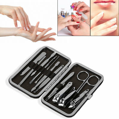 Manicure Pedicure Stainless Nail Clippers Kit Set Cuticle Grooming Case 12
