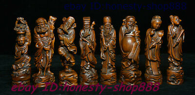 Antique Chinese Natural Boxwood Wood Hand Carving Eight God immortal Statue Set