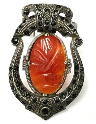 Art Deco Vintage Egyptian Revival Carnelian & Marcasite Sterling Clip Brooch