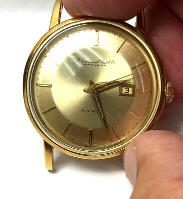 Vintage 18K Yellow Gold IWC Automatic Date Wrist Watch Pie-Pan Dial Ref 8531
