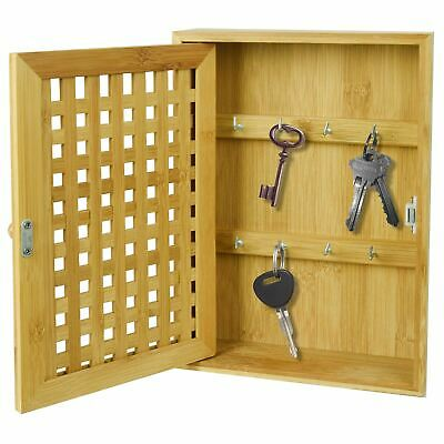 Wall Mounted Key Cabinet Safe Security Box Car Home Keys Bamboo Theft Proof