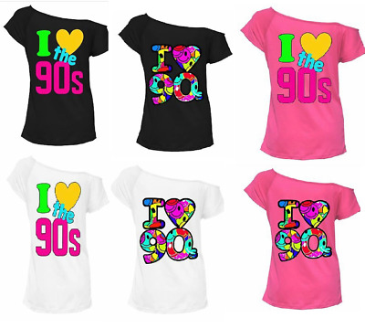 Ladies Off Shoulder I Love 80s T Shirt Disco Ball Set Party Accessories 6675