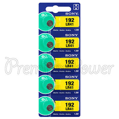 5 x Sony 192 batteries Alkaline LR41 1.5V AG3 LR736 Coin cell watches Japan