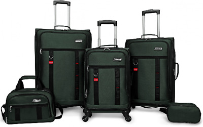 Travel Spinner Luggage Wheel Rotation Carry-On for Airline Set 5 Piece Green