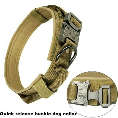 Heavy Duty Tactical Dog Collar with Quick Release Buckle, Hoop& Loop and D Ring