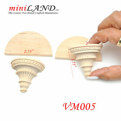 Large Carved wooden corbels brackets with small shelves 2pcs 1:6 dollhouse VM005