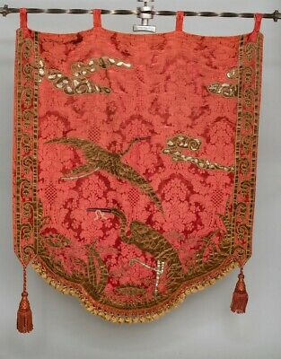 """Antique Large Embroidered Silk Wall Hanging Family Crest Japanese Cranes 42"""""""