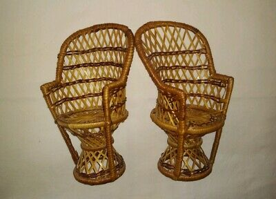 """Pair of 9"""" x 4"""" Wicker Rattan High Back Chairs for Dolls or Bears Doll Furniture"""