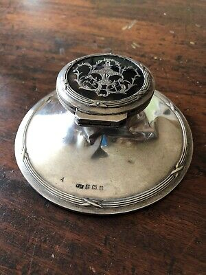 Silver Inkwell Capstan Antique Hallmark Desk Top Item